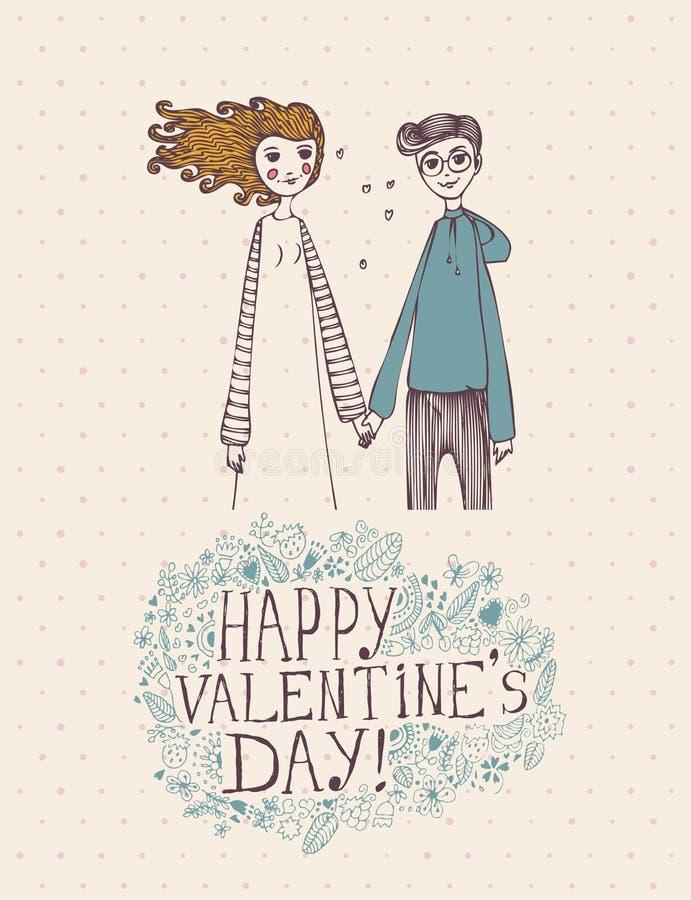 Valentinsgrußtagesgrußkarte im Weinlesehippie-Design mit Jungen und Mädchen Ich liebe dich Retro- Anmerkung Hand gezeichnete Art stock abbildung