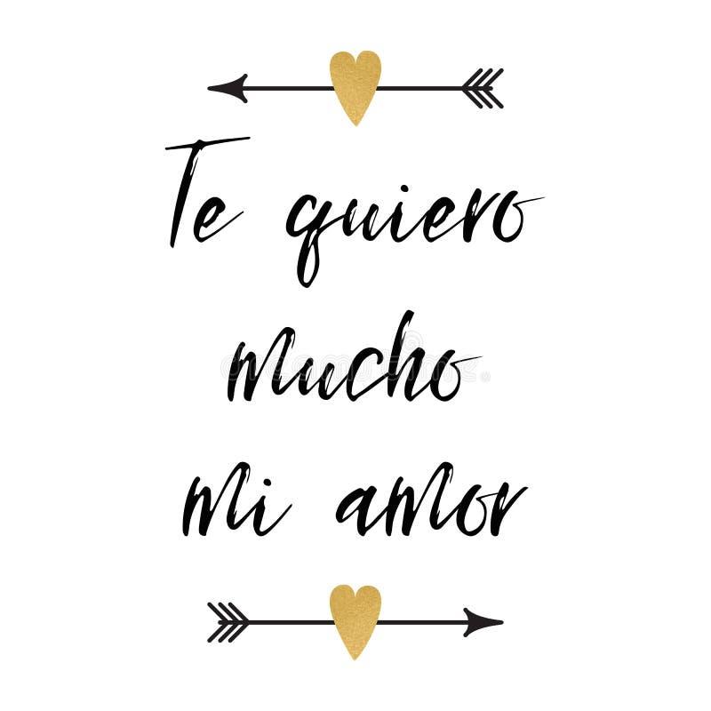 Valentinsgrußtagesgrußkarte mit positiver Phrase verzierte abstrakte Pfeilherzen Logo, Zeichen, Druck Titel auf spanisch vektor abbildung
