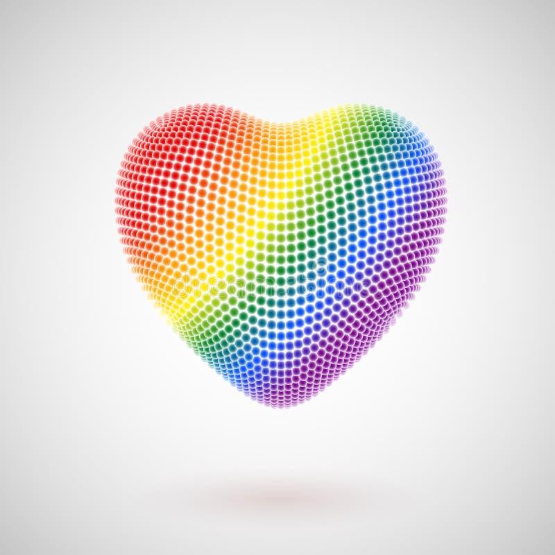 Valentinsgrußtagesgrußpostkarte: helle Bälle in Form eines Herzens lizenzfreie abbildung