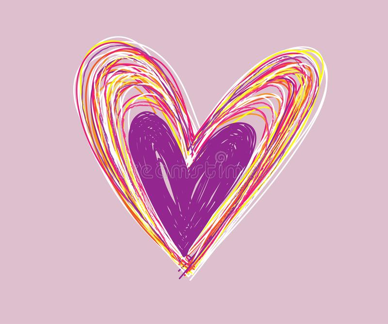 Valentinsgrußtagesherzgekritzel Satz, Handgezogene Ikonen und Illustrationen für Valentinsgrüße und Hochzeit stockfotos