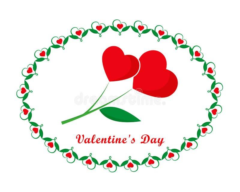 Valentinsgrußtageskarte, Herzen im ovalen Rahmen vektor abbildung