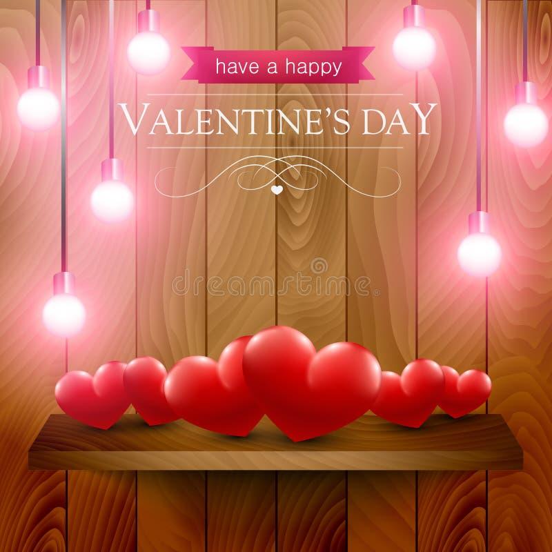 Valentinsgrußtageskarte mit Herzen auf einem hölzernen Regal stock abbildung