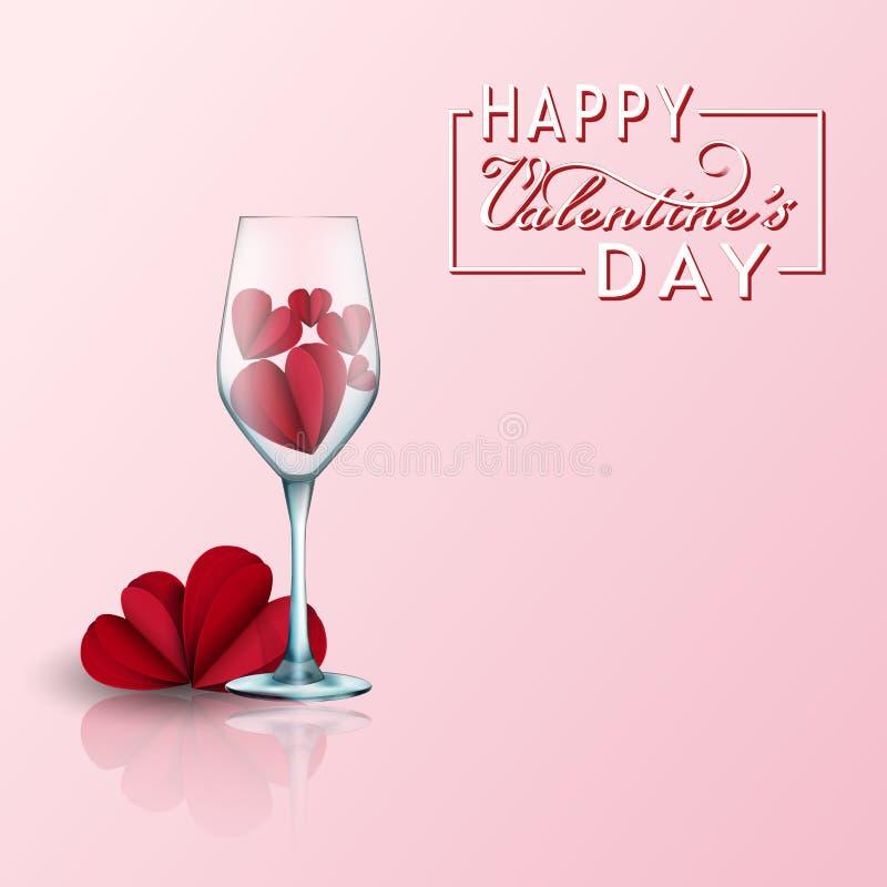 Valentinsgrußtageskarte mit Papier schnitt rote Herzen und schöne 2 Gläser realistische Elemente 3d der Liebe für Grußkarte lizenzfreie abbildung