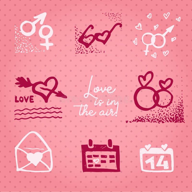 Valentinsgrußtageskarte oder -einladung Whitmotivations-Text Liebe ist- in der Luft Heiratskonzept Grußkarte, Plakat, Fahne, Entw stock abbildung