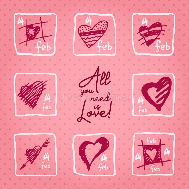 Valentinsgrußtageskarte oder Einladung Whitmotivationsalle Text, die Sie benötigen, ist Liebe Heiratskonzept Grußkarte, Plakat, F stock abbildung
