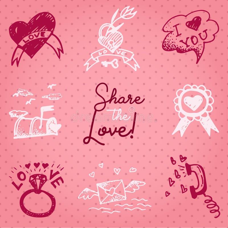 Valentinsgrußtageskarte oder Einladung Whitmotivationstext Anteil die Liebe Heiratskonzept Grußkarte, Plakat, Fahne, Entwurf vektor abbildung