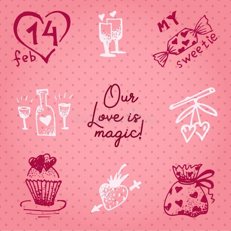 Valentinsgrußtageskarte oder Einladung Whitmotivationstext unsere Liebe ist magisch Heiratskonzept Grußkarte, Plakat, Fahne, Entw vektor abbildung