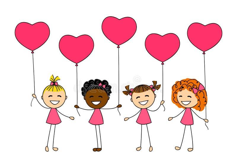 Valentinsgrußtageskinder stock abbildung