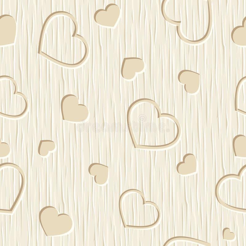 Valentinsgrußtagesnahtloses Muster mit Herzen schnitzte auf einem hölzernen Hintergrund Auch im corel abgehobenen Betrag lizenzfreie abbildung