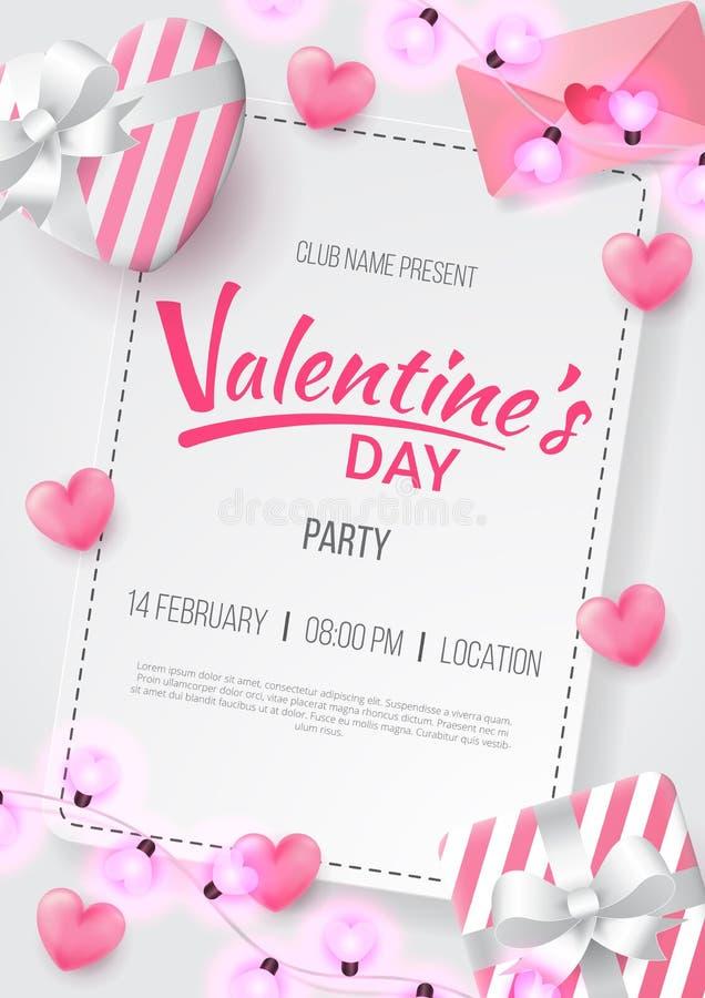Valentinsgrußtagesparteihintergrund mit dem Herzen geformt, Liebesbrief, Geschenk und geformter Lampe der Liebe lizenzfreie abbildung