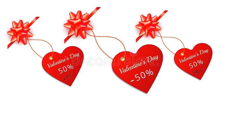 Valentinsgrußtagesroter Verkaufsumbau und -aufkleber in der Form des Herzens mit Geschenkbogen und des Bandes lokalisiert auf wei stock abbildung
