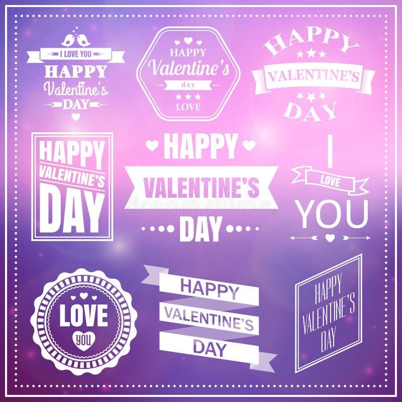 Valentinsgrußtagessatz Aufkleber, Embleme und Typografieelemente stock abbildung