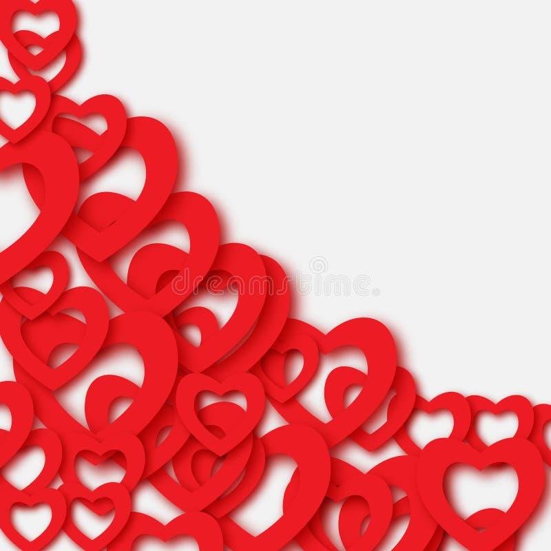 Valentinsgrußtagesschöner abstrakter Hintergrund mit geschnittenen Papierherzen 3d Vektorillustration für Karte vektor abbildung