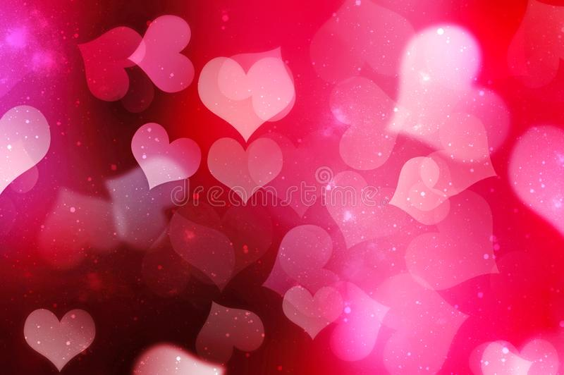 Valentinsgrußtagesunscharfer Herzhintergrund stock abbildung