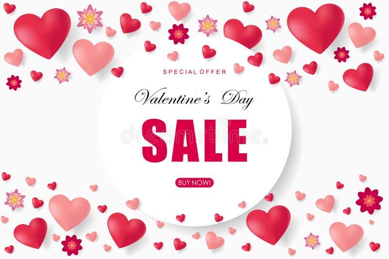 Valentinsgrußtagesverkaufshintergrund mit Herzen lizenzfreie abbildung