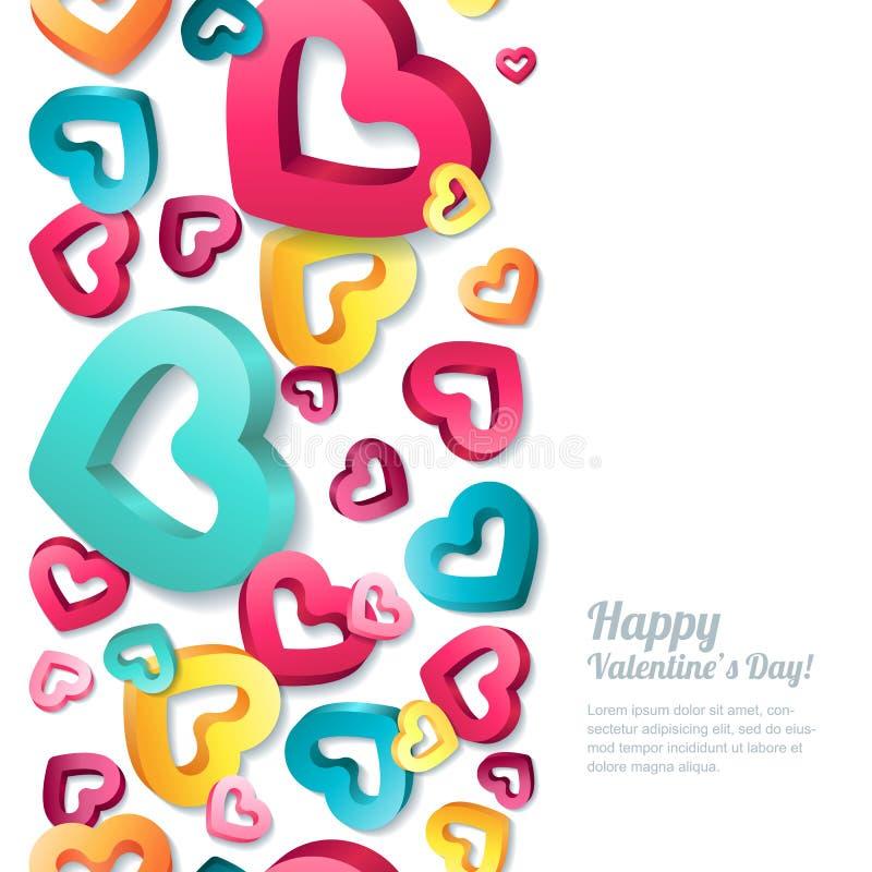 Valentinsgrußtagesvertikaler nahtloser weißer Hintergrund mit 3d stilisierte Mehrfarbenherzen lizenzfreie abbildung