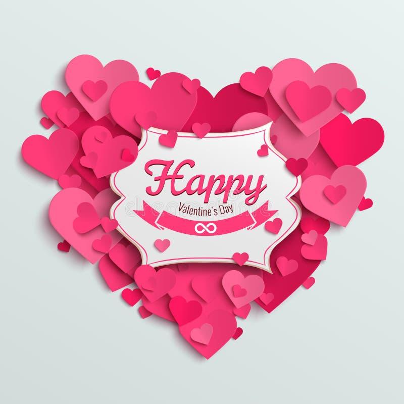 Valentinsgrußvektor-Illustrationspostkarte, romantischer Text auf rosa Papierherzen lizenzfreie abbildung