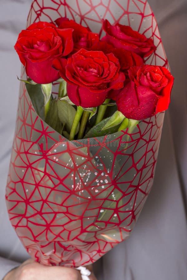 Valentinsgrußtag oder -antrag Junger glücklicher gut aussehender Mann, der großes Bündel rote Rosen in seiner Hand auf grauem Hin lizenzfreie stockfotografie