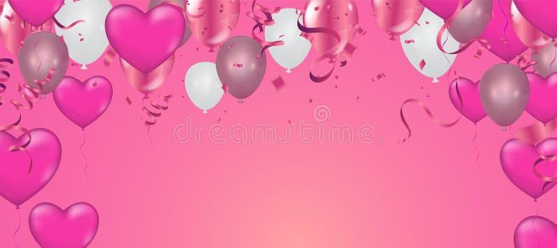 Valentinsgru? ` s Tagesverkaufshintergrund Romantische Zusammensetzung mit Herzen Vektorillustration f?r Website stock abbildung