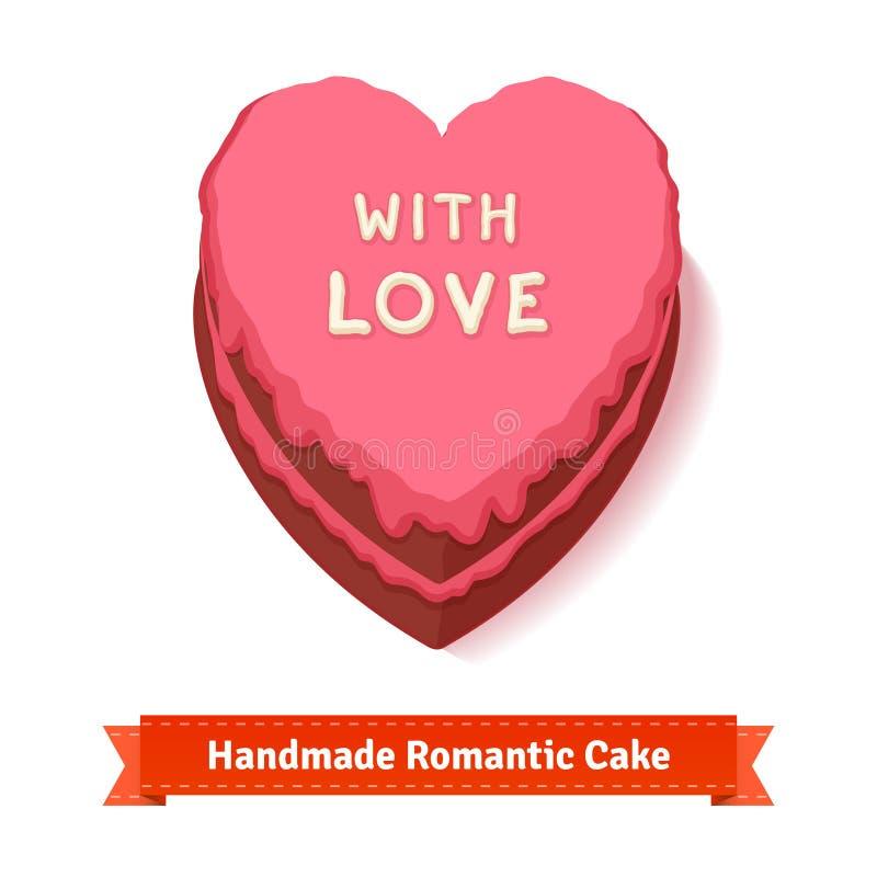 Valentinstag, geformter Kuchen des Geburtstages Herz stock abbildung