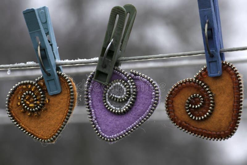 Valentinstag, handgemachte Produkte vom Filz stockbild