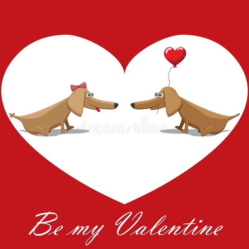 Valentinstag, Hund mit Ballonen, Postkartentext ist mein Valentinsgruß lizenzfreie abbildung