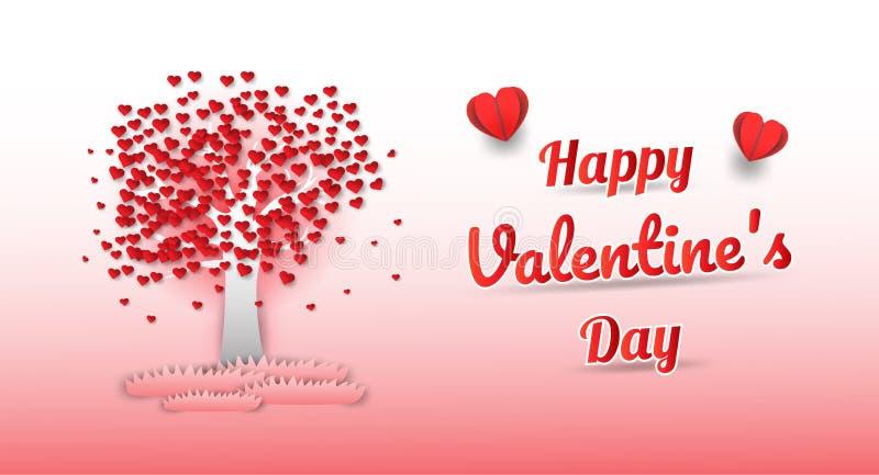 Valentinstag-Konzept, roten Herzbäumen, rosa Hintergründen und aus Ballonen in Form von Papierkunst bestehend stock abbildung