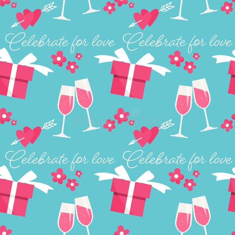 Valentinstag nahtloses Muster von Champagner, Blumen, Geschenkbox, Herzen mit Pfeil und Celebrate für Liebestext stock abbildung