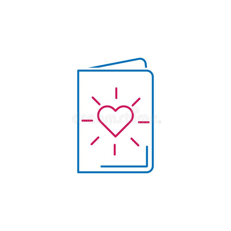 Valentinstag, Postkartenikone Kann für Netz, Logo, mobiler App, UI, UX verwendet werden vektor abbildung