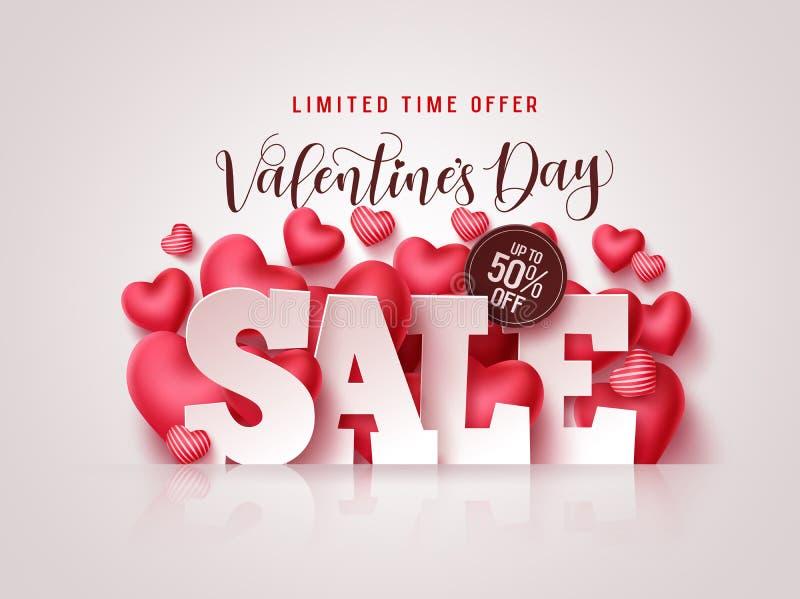 Valentinstag Verkauf Vektor Banner Valentinstag Verkauf von 3D-Text mit Herzformen vektor abbildung