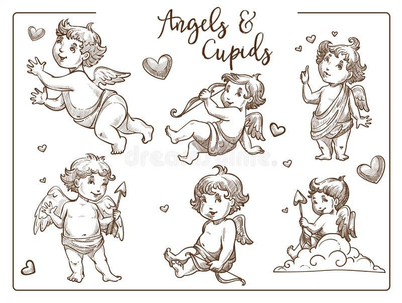 Valentinstagamoren und -engel mit Flügeln und Pfeilen lokalisierten Skizzen vektor abbildung