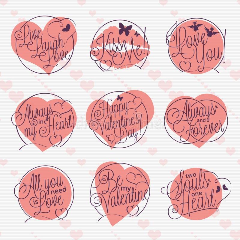 Valentinstagbeschriftungssatz lizenzfreie abbildung