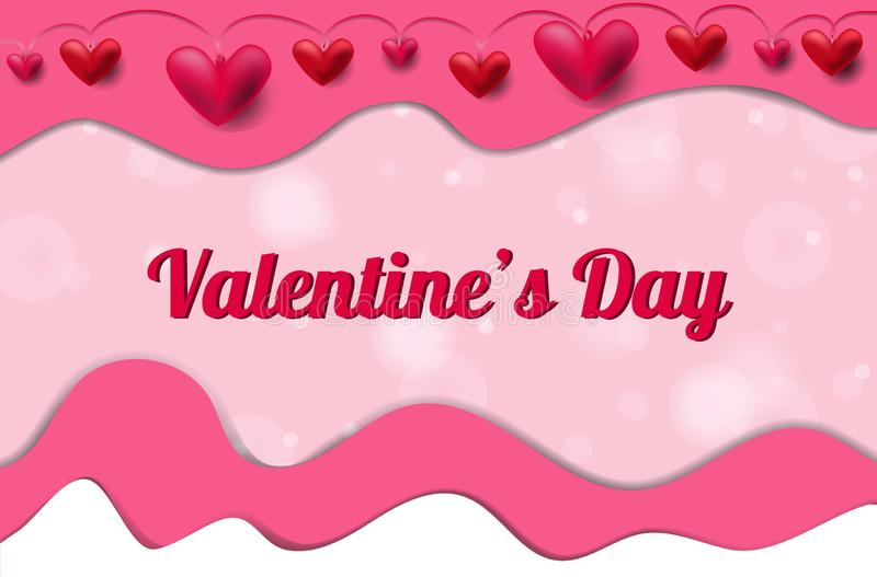 Valentinstagfahne mit Herzen und Papierschnitteffekt stock abbildung