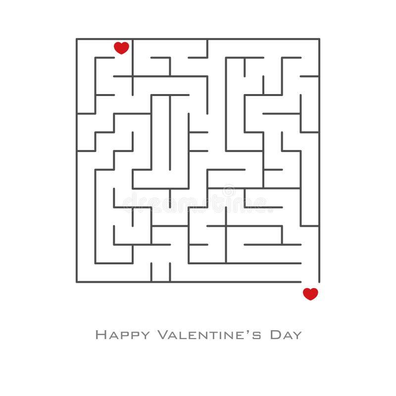 Valentinstaghintergrund mit dem Herzen geformt in Labyrinth- und Labyrinthart, Flieger, Einladung, Plakate, Broschüre, Fahnen vektor abbildung