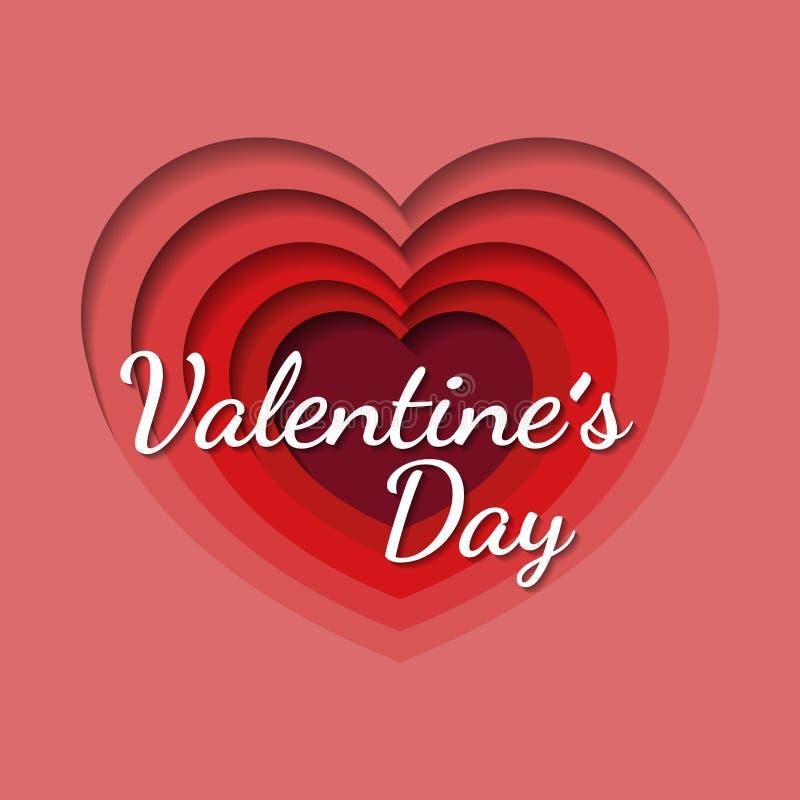 Valentinstaghintergrund mit dem Herzen geformt in Papierkunstart, Fliegereinladung, Plakate, Broschüre, Fahnen lizenzfreie abbildung