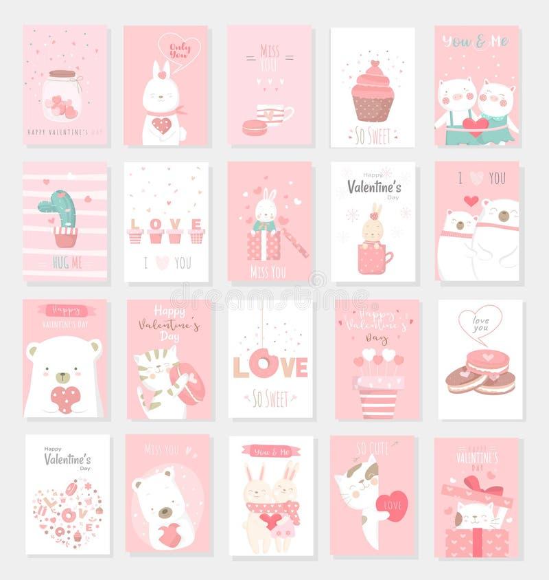 Valentinstaghintergrund mit Tierkarikatur des netten Babys vektor abbildung