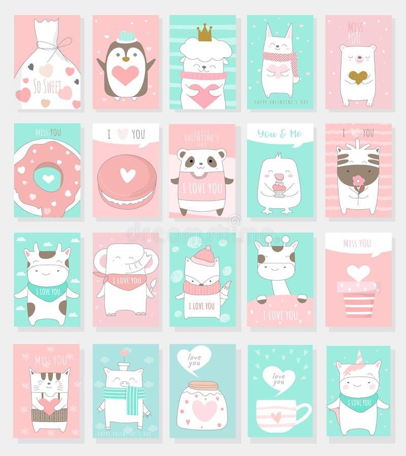 Valentinstaghintergrund mit Tierkarikatur des netten Babys stock abbildung