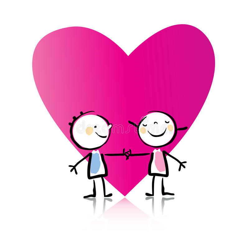 Valentinstagkarikatur stock abbildung