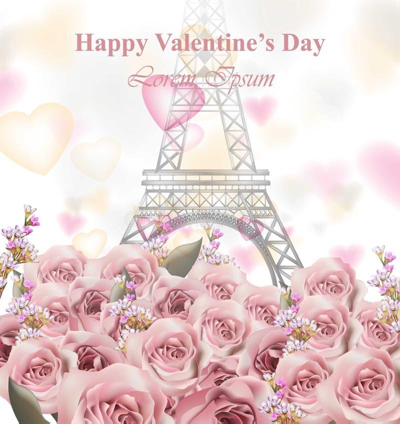 Valentinstagkarte mit Eiffelturm und Rosen Glücklicher Feiertag Vektor Pastellrosa färbt empfindliche Designe lizenzfreie abbildung