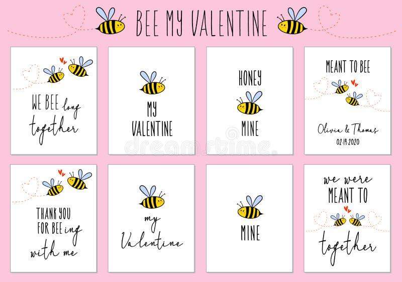 Valentinstagkarten mit netter Biene, Vektorsatz stock abbildung