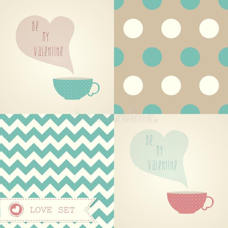 Valentinstagkartensatz mit einem Tasse Kaffee oder einem Tee. stock abbildung