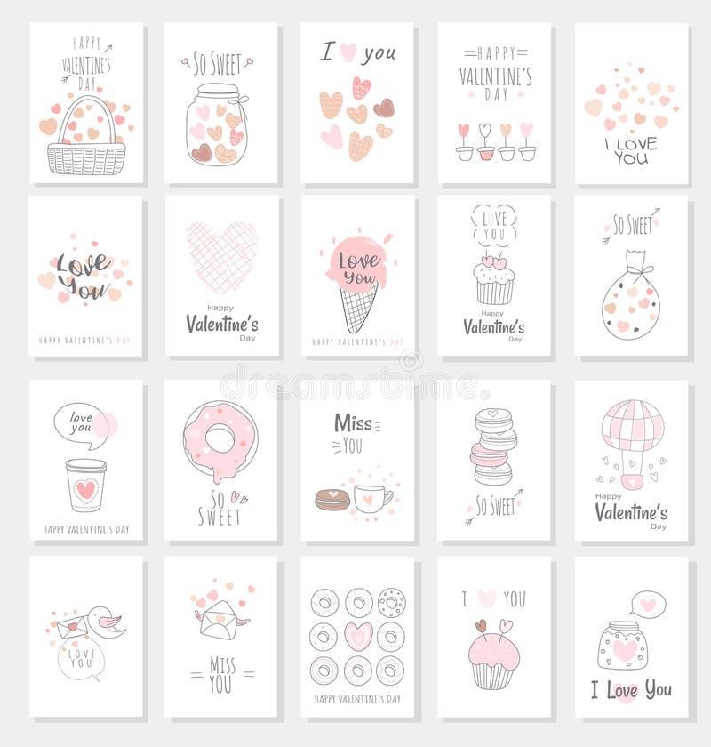 Valentinstagkartensatz mit Handgezogener Art stock abbildung