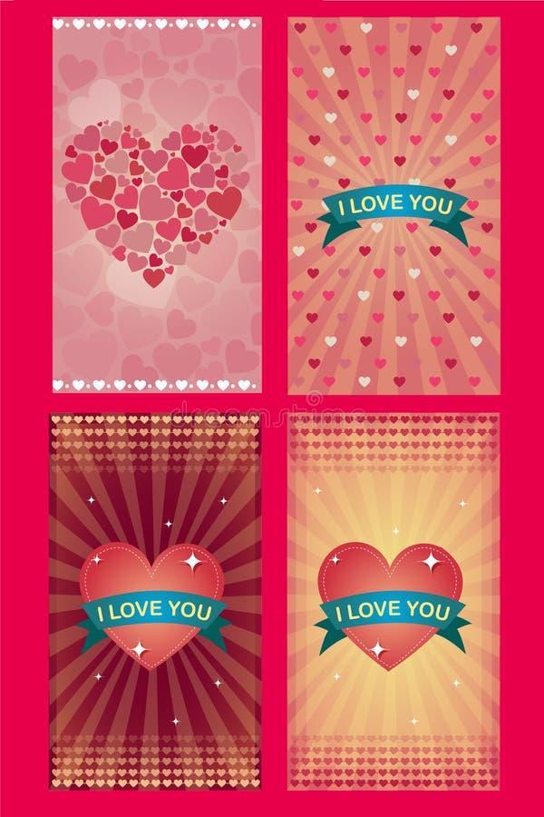 Valentinstagliebes-Grußkarten lizenzfreie abbildung