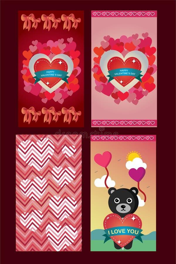 Valentinstagliebes-Grußkarten in 4 Veränderungen vektor abbildung