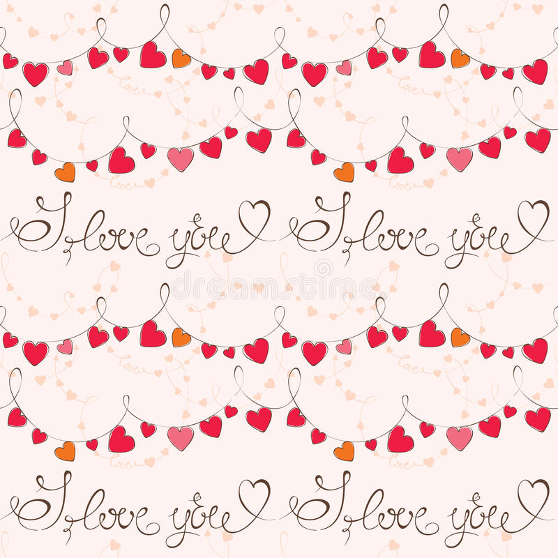 Valentinstagmuster mit Herzen lizenzfreie abbildung