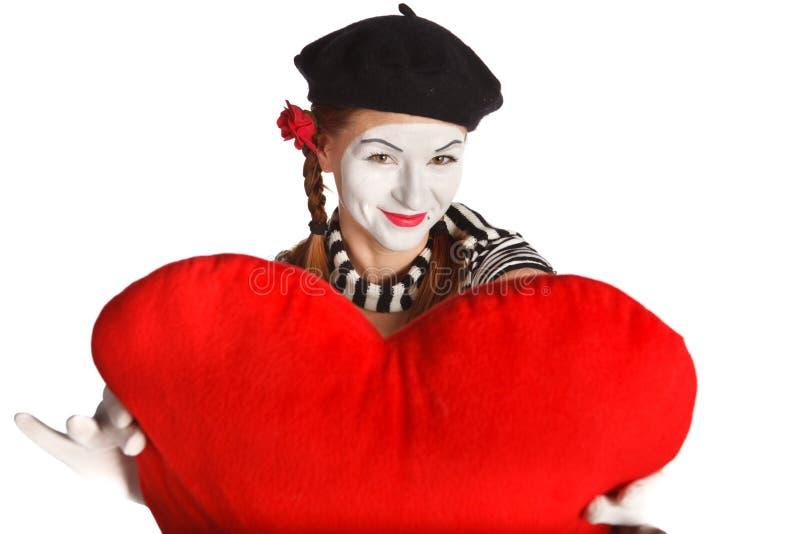 Valentinstagpantomimeportrait lizenzfreies stockbild