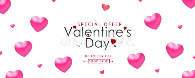 Valentinstagverkaufs-Vektorillustration Fahnenentwurf mit schönen rosa Farbherzen lizenzfreie abbildung