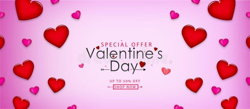 Valentinstagverkaufs-Vektorillustration Fahnenentwurf mit schönen rote Farbherzen lizenzfreie abbildung
