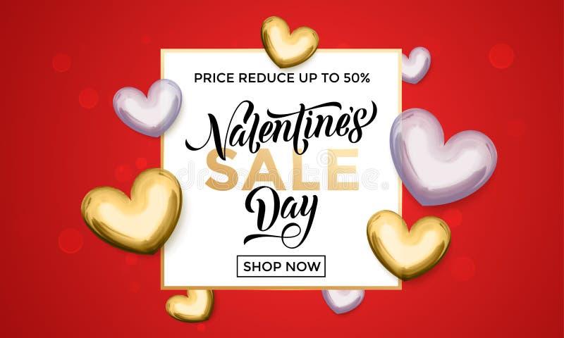 Valentinstagverkaufsgoldherz-Funkelnplakat stock abbildung