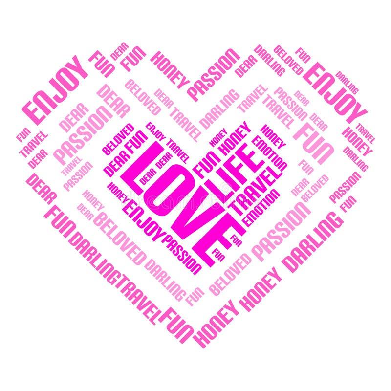 Valentinstagwort-Wolkencollage, Herzkonzepthintergrund lizenzfreie abbildung